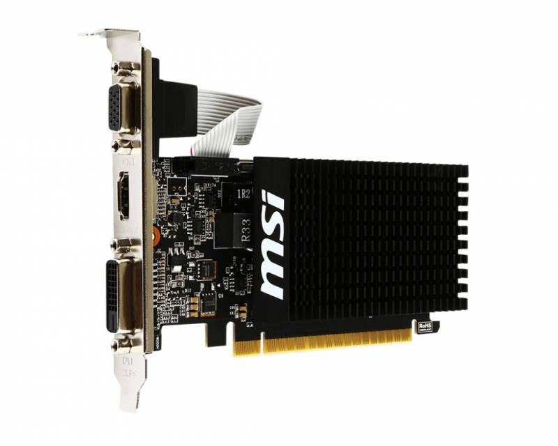 Видеокарта MSI PCI-E GT 710 2GD3H LP nVidia GeForce GT 710 2048Mb 64bit DDR3 954/1600 DVIx1/HDMIx1/CRTx1/HDCP Ret low profile
