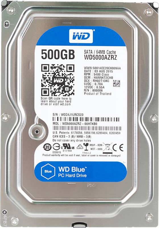 Жесткий диск WD Original SATA-III 500Gb WD5000AZRZ Blue (5400rpm) 64Mb 3.5""