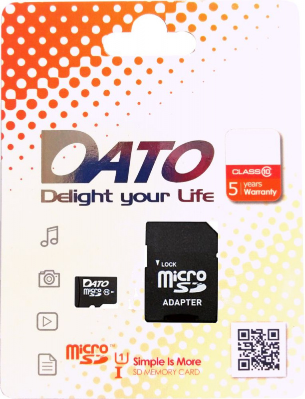 Флеш карта microSDHC 8Gb Class10 Dato DTTF008GUIC10 w/o adapter