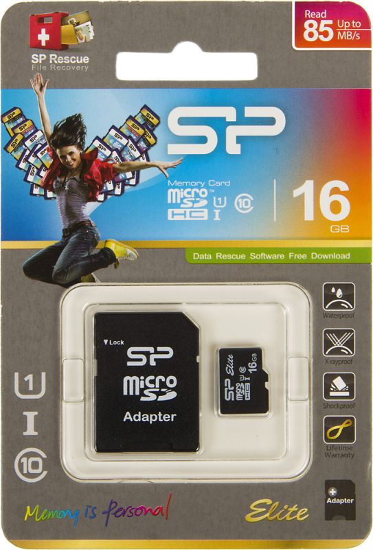 Флеш карта microSDHC 16Gb Class10 Silicon Power SP016GBSTHBU1V10SP + adapter
