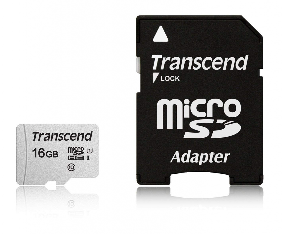 Флеш карта microSDHC 16Gb Class10 Transcend TS16GUSD300S-A + adapter